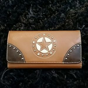 Country road wallet with western design checkbook for sale